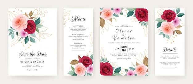 Hochzeitseinladungskartenschablone gesetzt mit rosen, anemonenblumen und blättern Premium Vektoren