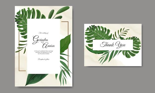 Hochzeitseinladungskartenschablone gesetzt mit tropischer blattdekoration Premium Vektoren