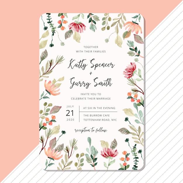 Hochzeitseinladungskartenschablone mit blumen- und laubaquarellrahmen Premium Vektoren