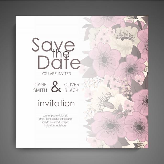 Hochzeitseinladungskartenschablone mit bunter blume. Kostenlosen Vektoren
