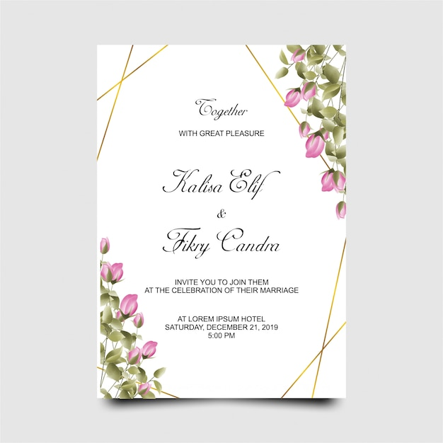Hochzeitseinladungskartenschablone mit den aquarellart-rosarosenknospen Premium Vektoren