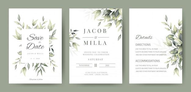 Hochzeitseinladungskartenschablone mit grüner blattdekoration Premium Vektoren