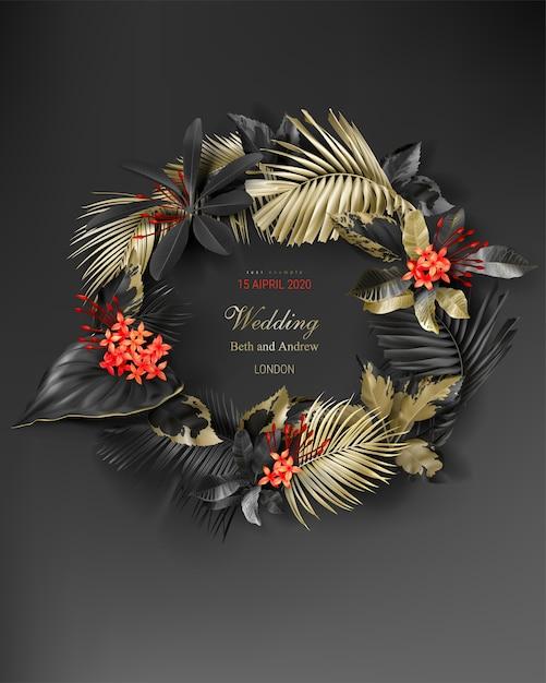 Hochzeitseinladungskartenschablone mit rahmen des tropischen schwarzes und des goldes verlässt Kostenlosen Vektoren