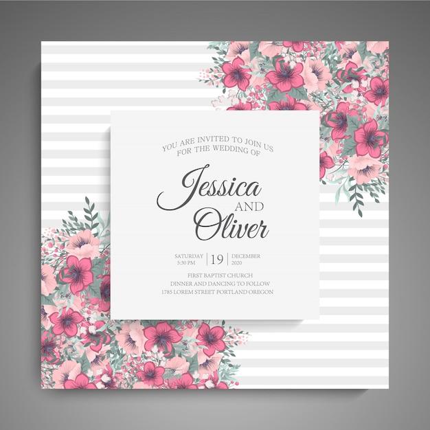Hochzeitseinladungskartenschablone mit rosa blumen. Kostenlosen Vektoren