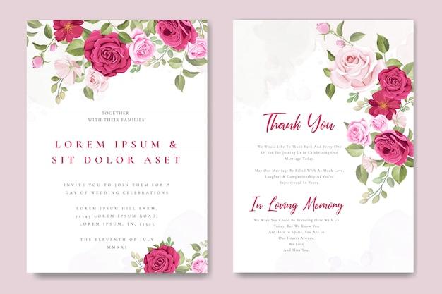 Hochzeitseinladungskartenschablone mit schönen rosa rosen Premium Vektoren