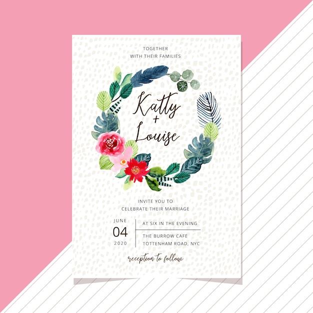 Hochzeitseinladungskartenschablone mit süßem tropischem aquarellblumenkranz Premium Vektoren