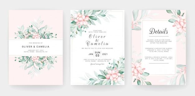 Hochzeitseinladungskartenschablonensatz mit blumendekorationen des weichen pfirsichaquarells. Premium Vektoren