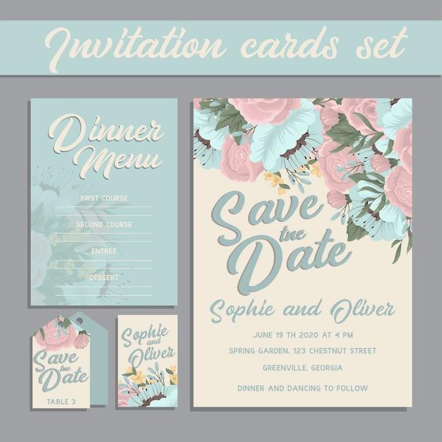 Hochzeitseinladungskartensuite mit blume Kostenlosen Vektoren