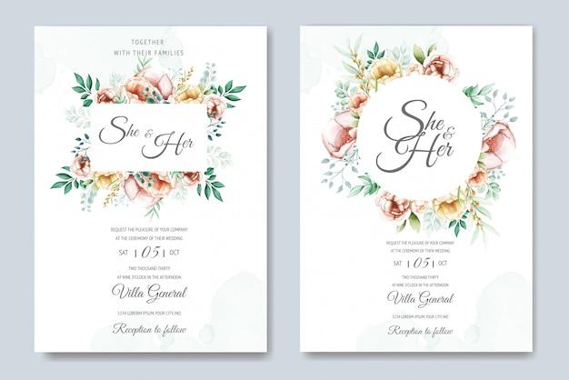 Hochzeitseinladungsreihe mit dem aquarell mit blumen und blättern Premium Vektoren