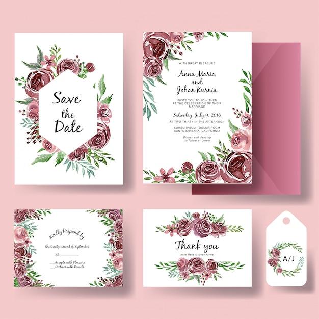 Hochzeitseinladungssatz der aquarellblumen-purpurschablone Premium Vektoren