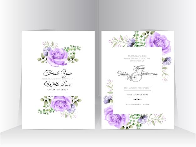 Hochzeitseinladungssatzschablone mit schöner lila rose Premium Vektoren