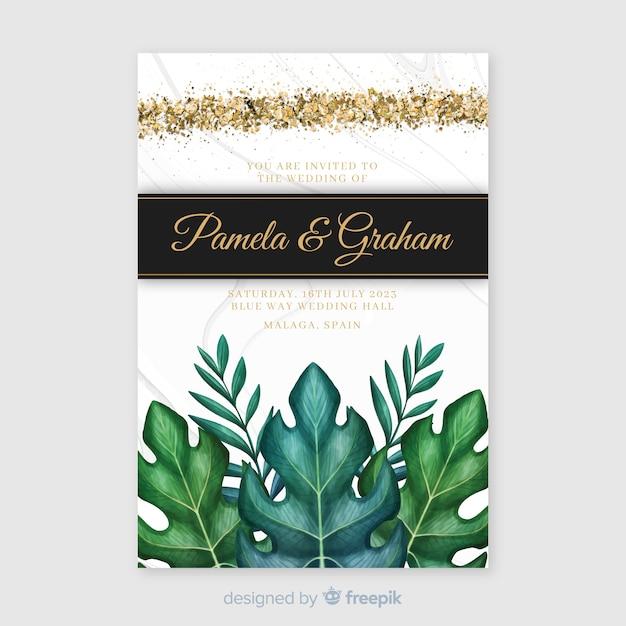 Hochzeitseinladungsschablone des aquarells tropische Kostenlosen Vektoren