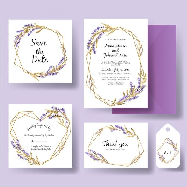 Hochzeitseinladungsschablone des geometrischen goldes mit aquarelllavendelblume Premium Vektoren