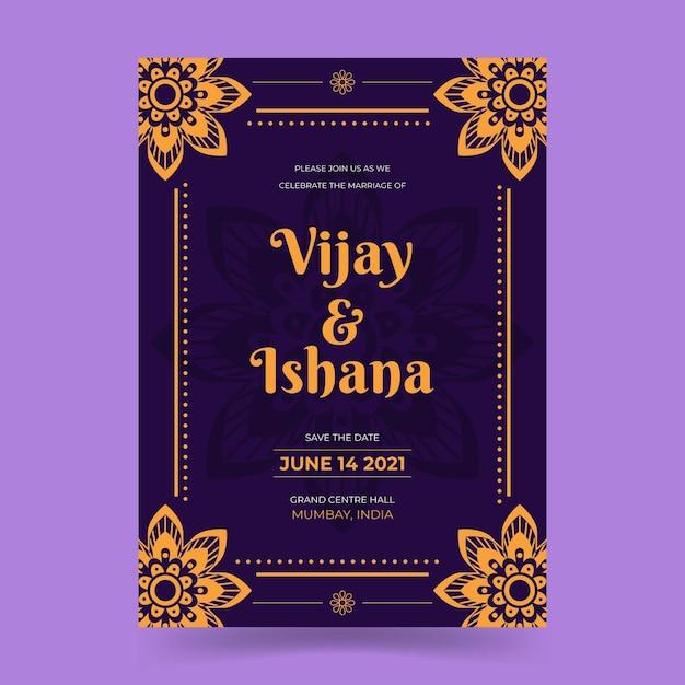 Hochzeitseinladungsschablone für indisches paar Premium Vektoren