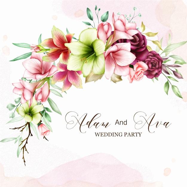 Hochzeitseinladungsschablone mit aquarellamaryllis und rosafarbenen blumen Premium Vektoren