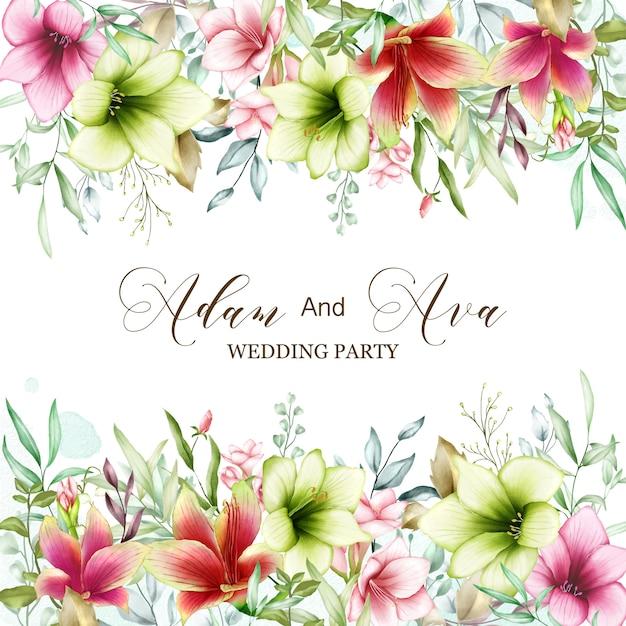 Hochzeitseinladungsschablone mit aquarellamaryllisblumen Premium Vektoren