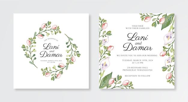 Hochzeitseinladungsschablone mit aquarellblumen Premium Vektoren