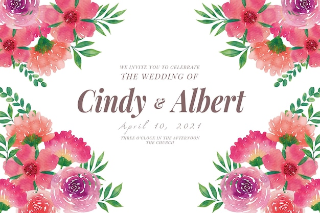 Hochzeitseinladungsschablone mit aquarellblumen Kostenlosen Vektoren
