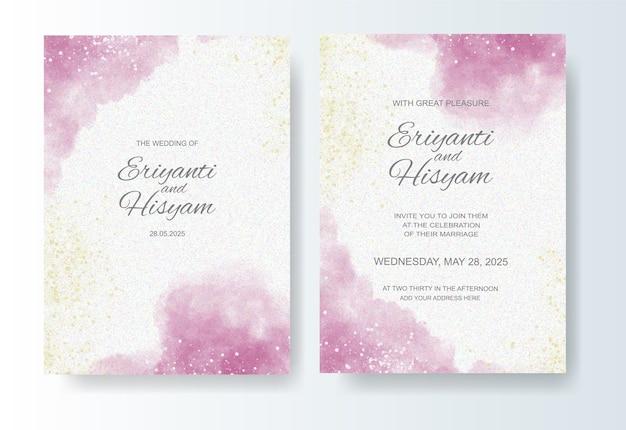 Hochzeitseinladungsschablone mit aquarellhintergrund und spritzen Premium Vektoren