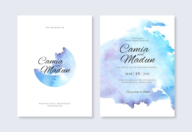 Hochzeitseinladungsschablone mit aquarellhintergrund Premium Vektoren