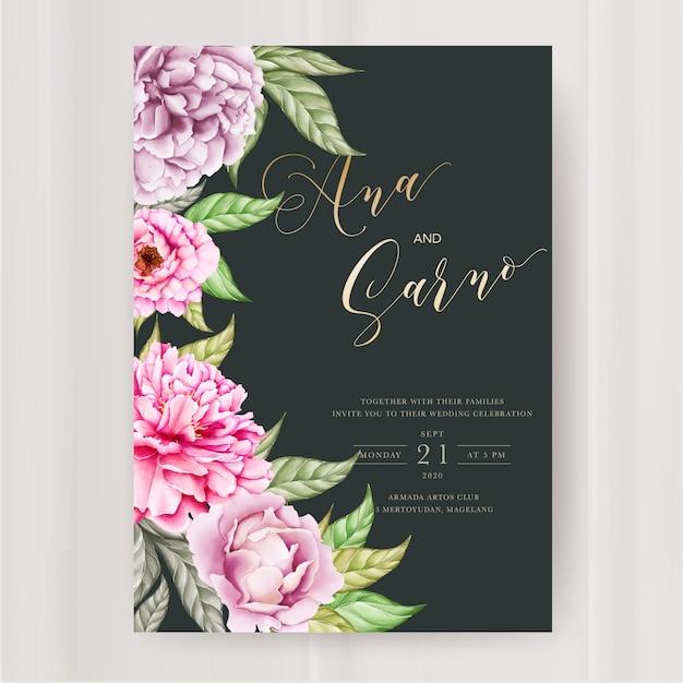 Hochzeitseinladungsschablone mit aquarellpfingstrosenblume Premium Vektoren