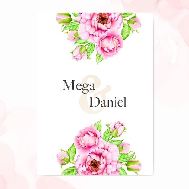 Hochzeitseinladungsschablone mit aquarellpfingstrosenblumen Premium Vektoren