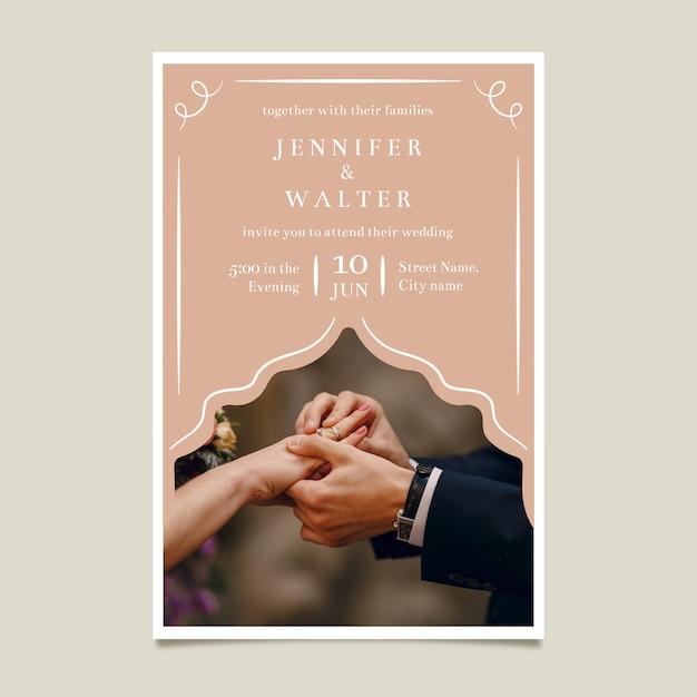 Hochzeitseinladungsschablone mit bild Kostenlosen Vektoren