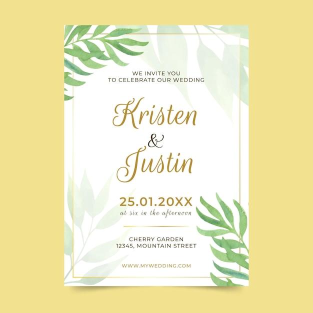 Hochzeitseinladungsschablone mit blättern Premium Vektoren