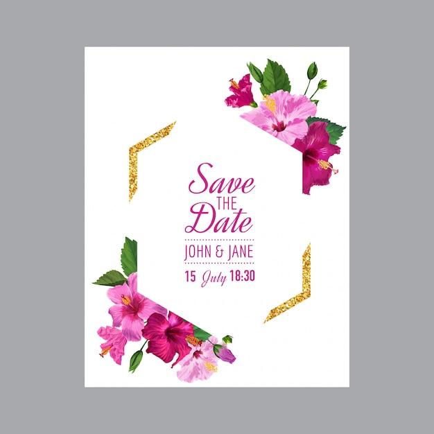 Hochzeitseinladungsschablone mit blumen Premium Vektoren