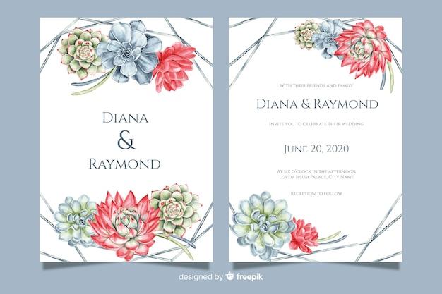 Hochzeitseinladungsschablone mit blumen Kostenlosen Vektoren