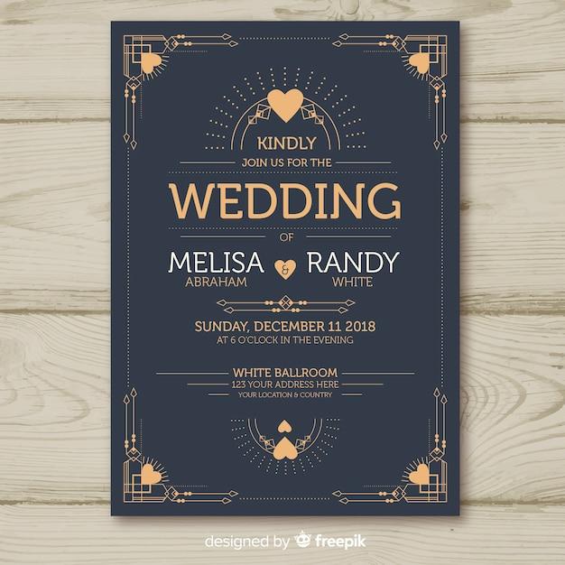 Hochzeitseinladungsschablone mit dekorativem art deco design Kostenlosen Vektoren