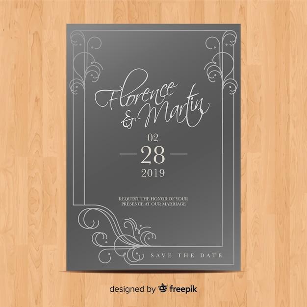 Hochzeitseinladungsschablone mit eleganten verzierungen Kostenlosen Vektoren