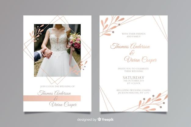Hochzeitseinladungsschablone mit foto Premium Vektoren