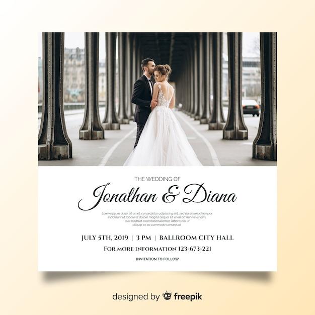Hochzeitseinladungsschablone mit foto Kostenlosen Vektoren