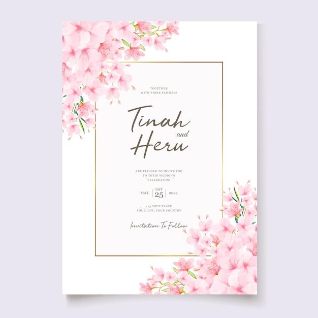 Hochzeitseinladungsschablone mit kirschblütenkranz Kostenlosen Vektoren