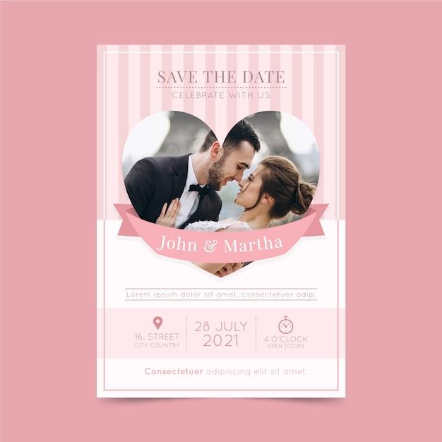 Hochzeitseinladungsschablone mit paarfoto Kostenlosen Vektoren