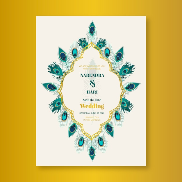 Hochzeitseinladungsschablone mit pfaufedern Kostenlosen Vektoren