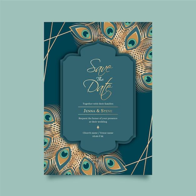 Hochzeitseinladungsschablone mit pfaufedern Premium Vektoren