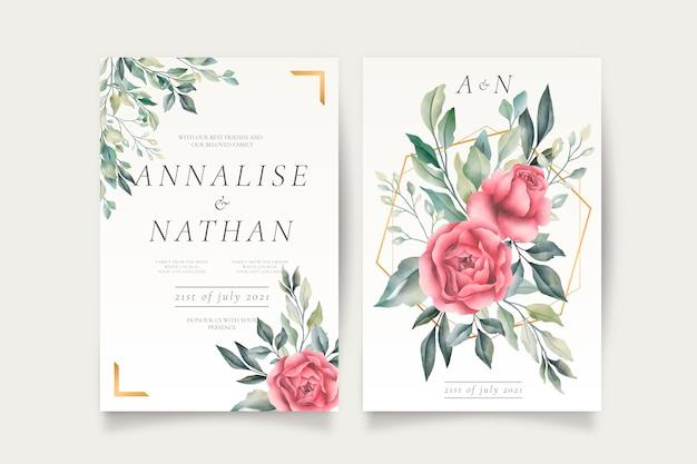 Hochzeitseinladungsschablone mit schönen blumen Kostenlosen Vektoren