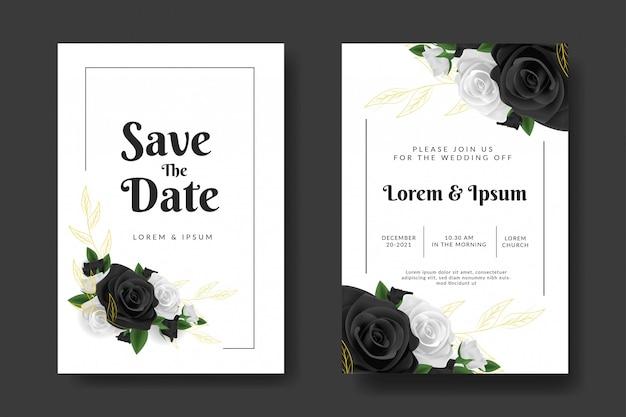 Hochzeitseinladungsschablone mit schwarzweiss-rosenblume Premium Vektoren