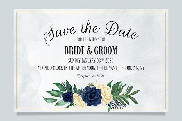 Hochzeitseinladungsschablone mit staubiger aquarellblumenkomposition Premium Vektoren