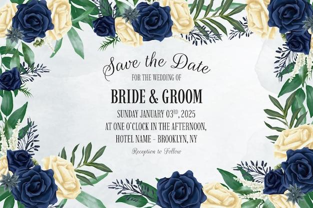 Hochzeitseinladungsschablone mit staubiger aquarellblumenrahmenzusammensetzung Premium Vektoren