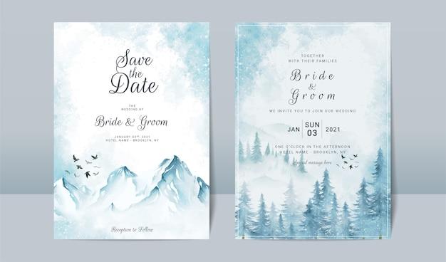Hochzeitseinladungsschablonensatz mit gefrorener landschaftsszene der berge Premium Vektoren