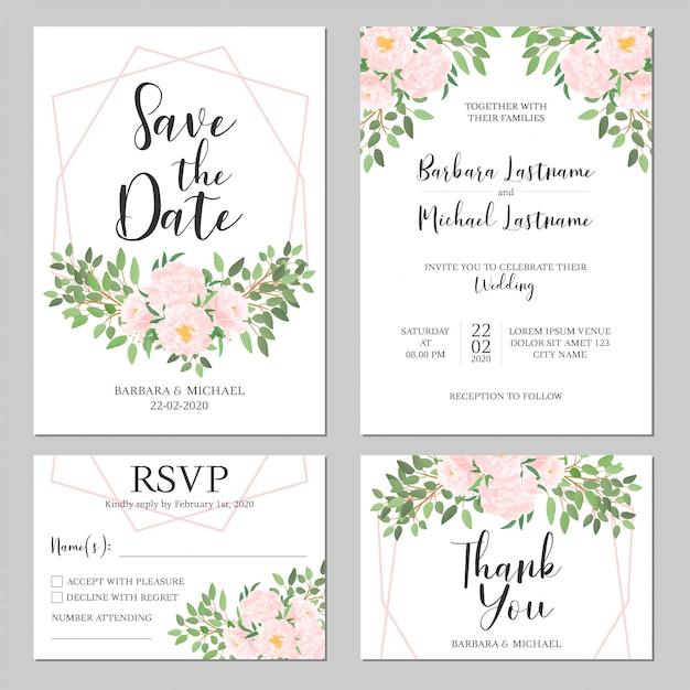 Hochzeitseinladungsschablonensatz Premium Vektoren