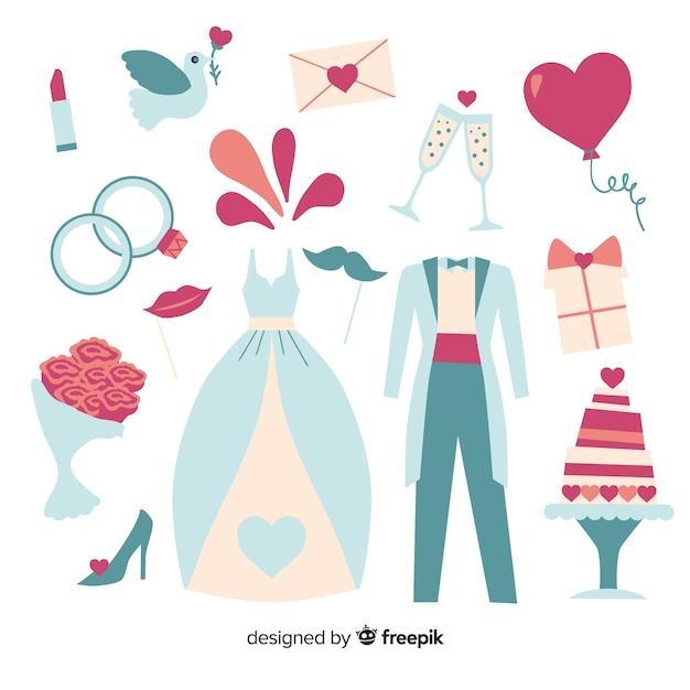 Hochzeitselemente sammlung Kostenlosen Vektoren