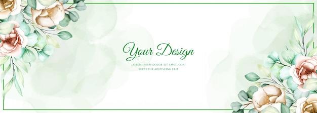Hochzeitsfahnenschablone mit eukalyptusblättern eingestellt Kostenlosen Vektoren