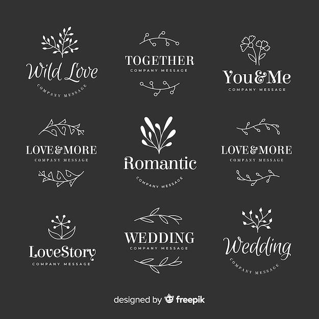 Hochzeitsfloristenlogo-schablonensammlung Kostenlosen Vektoren