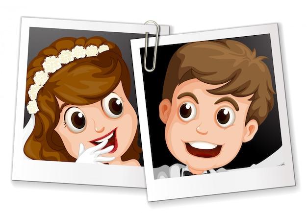 Hochzeitsfotos mit clips Kostenlosen Vektoren
