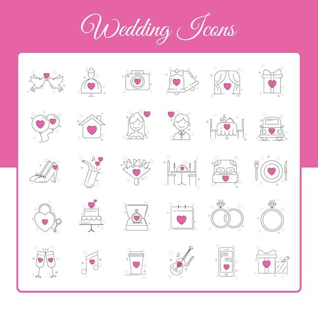 Hochzeitsikonen eingestellt mit entwurfs-art Premium Vektoren