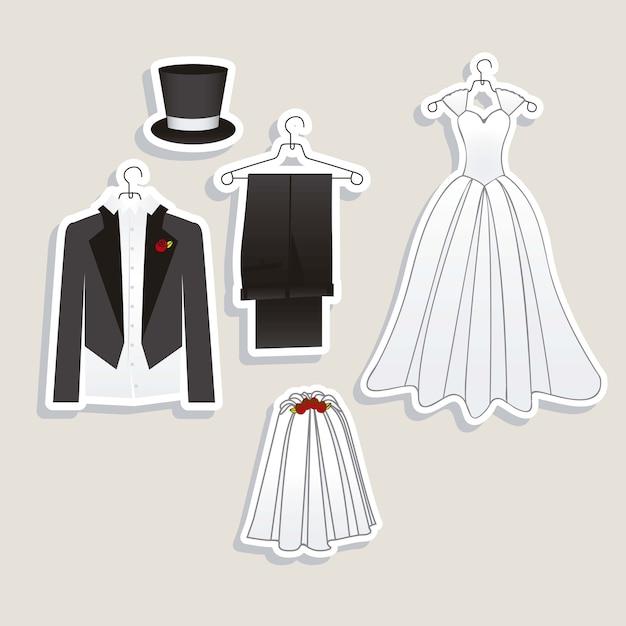 Hochzeitsikonen Premium Vektoren